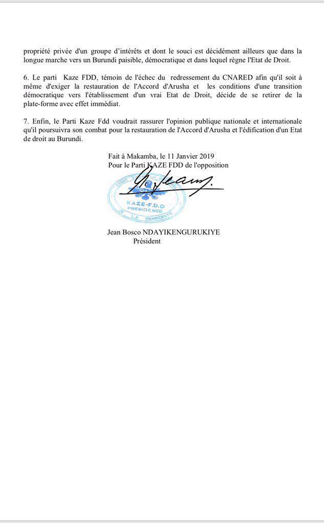 NDAYIKENGURUKIYE Jean Bosco quitte le CNARED