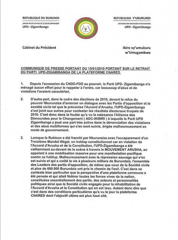 Murwengezo Chauvineau quitte à son tour l'association des burundais de droit belge dénommée CNARED