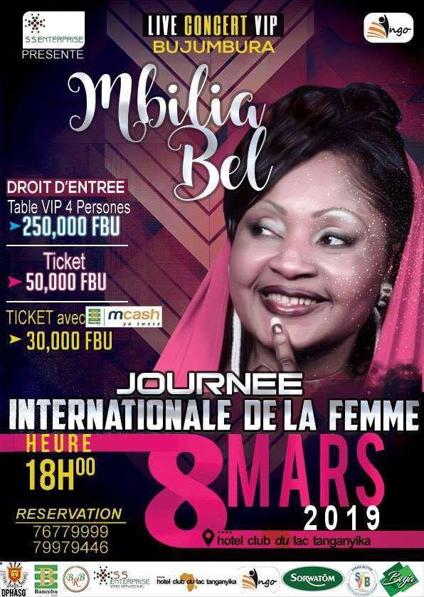 MBILIA Bell sera en concert à Bujumbura le 8 mars prochain
