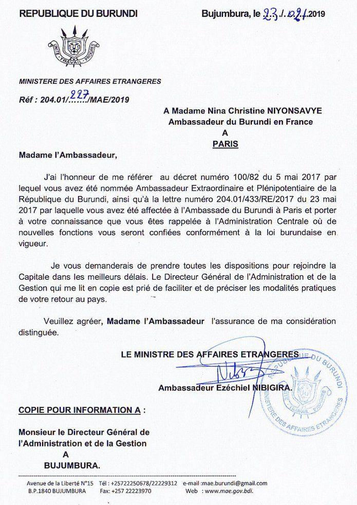 L'Ambassadeur du Burundi en France rappelée à l'administration centrale