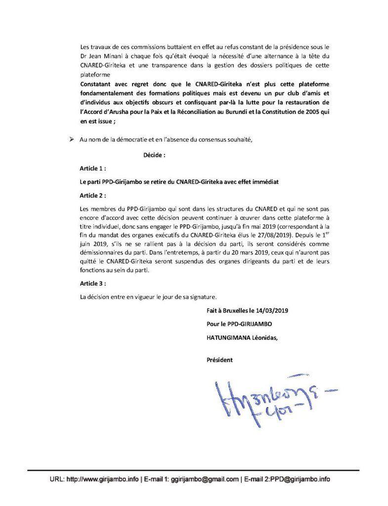 Le CNDD de NYANGOMA et le PPD, parti des frondeurs du CNDD-FDD, quittent le CNARED