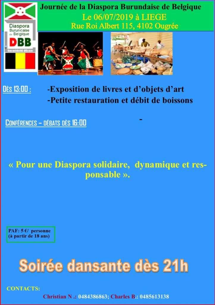 Journée de la diaspora burundaise à Liège (affiche - invitation de la DBB)