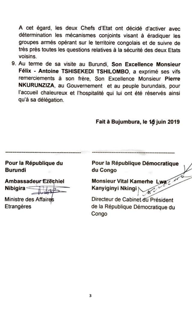 Communiqué conjoint à l'occasion de la visite du Président de la République Démocratique du Congo