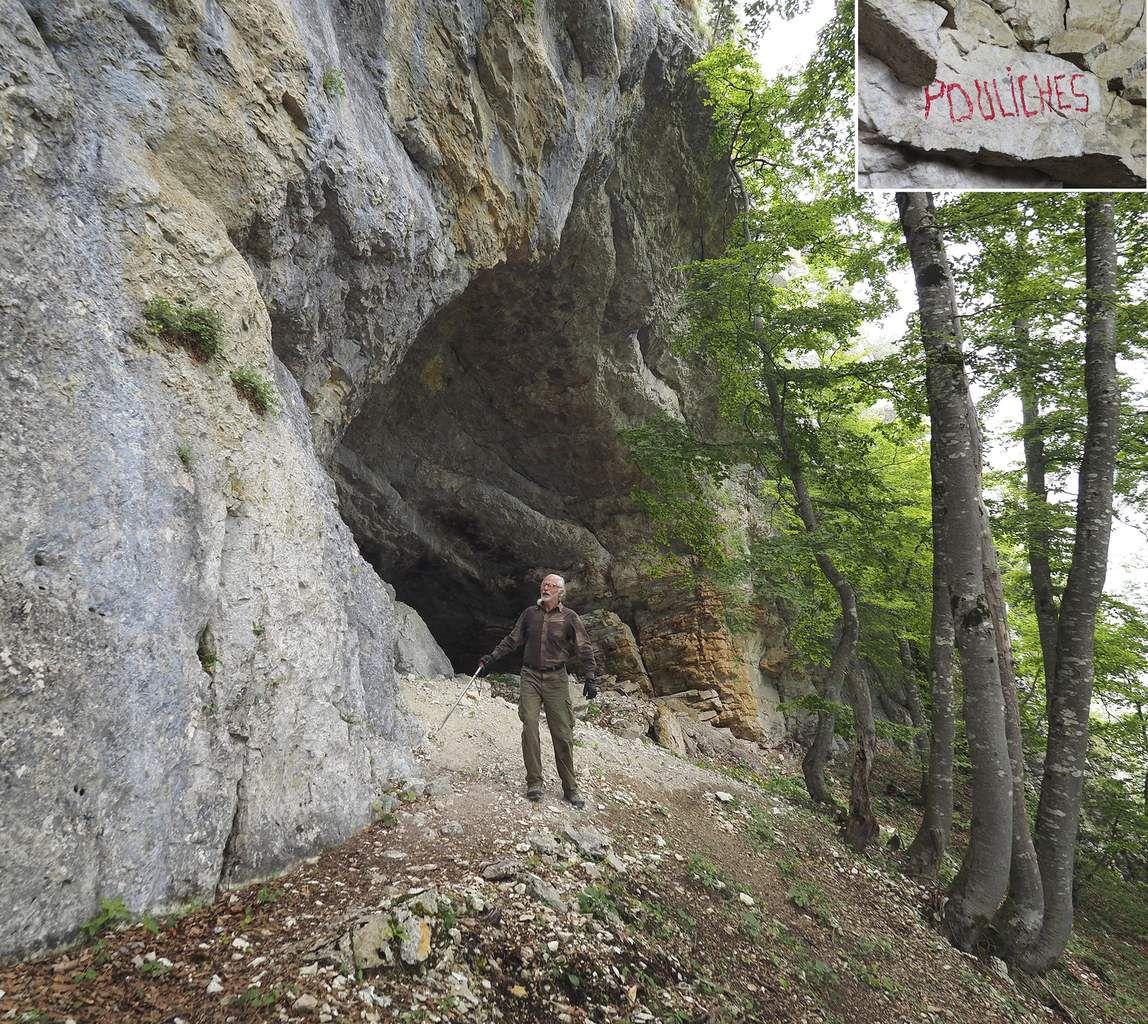 Bob Keller devant la grotte des Pouliches et en route pour le passage donnant accès au pré de la Charmette.