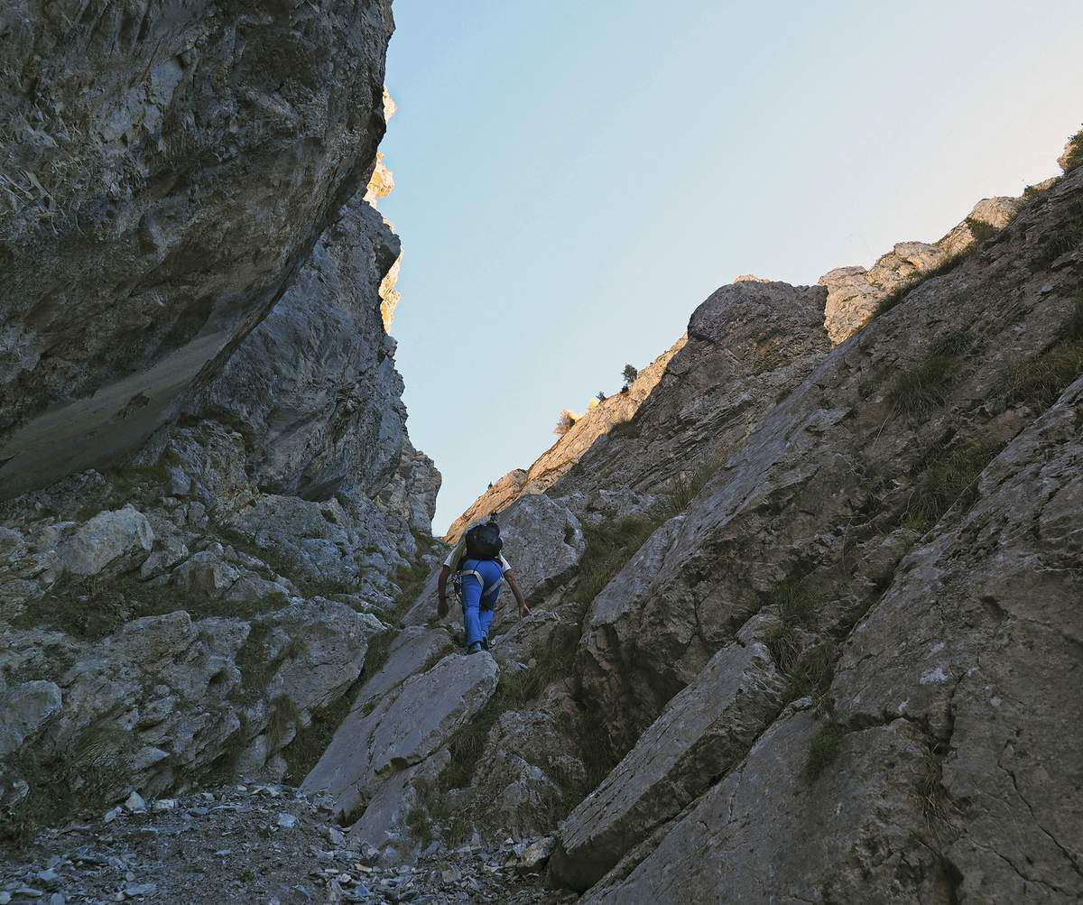 Une succession de passages rocheux faciles entrecoupés de pierriers et de pentes herbeuses.
