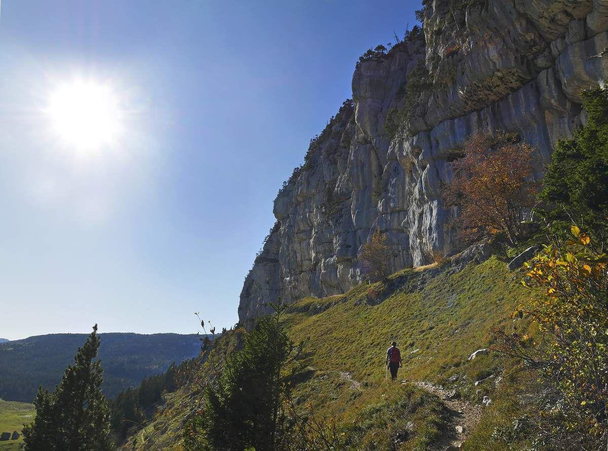 Les falaises de la Tête du Lion, dont on peut aussi longer le pied pour rentrer au col de l'Alpette.