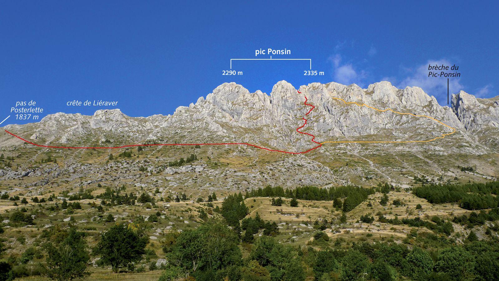 Le versant ouest avec les différentes descentes.