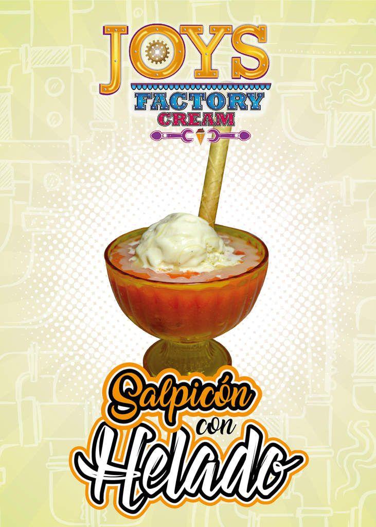 Publicidad de productos que ofrece la heladería con concepto industrial.