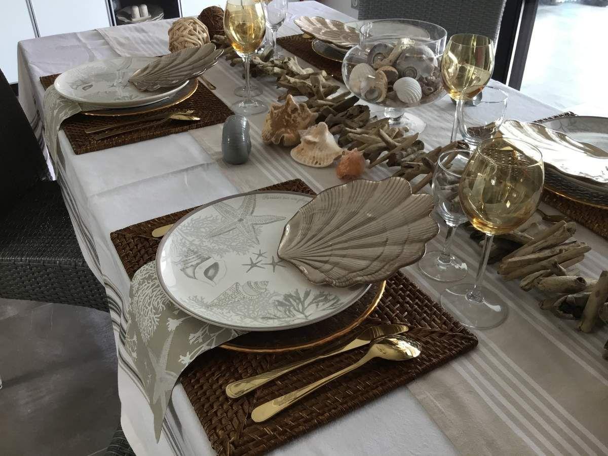 Table bord de mer et coquillages