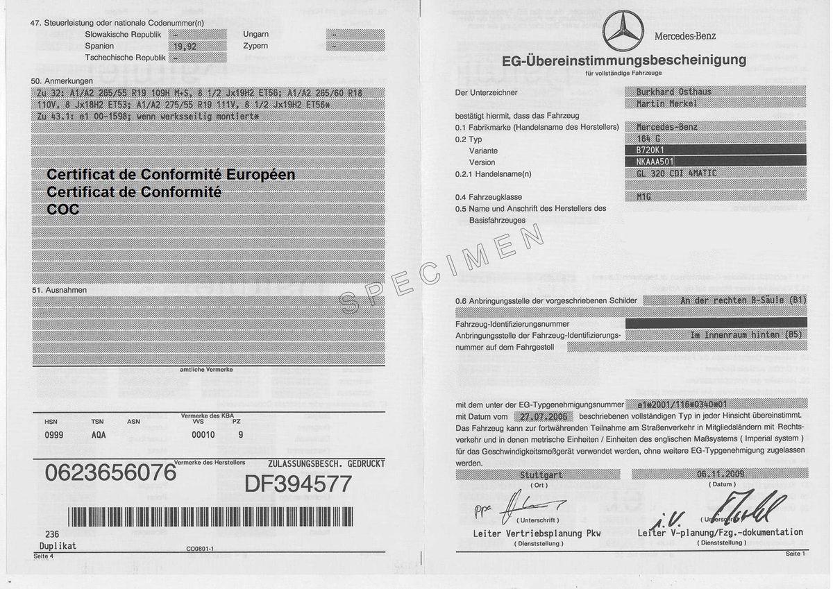 Certificat de conformité COC
