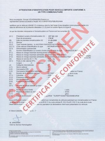 Désormais Le Certificat de Conformité est à commander en ligne