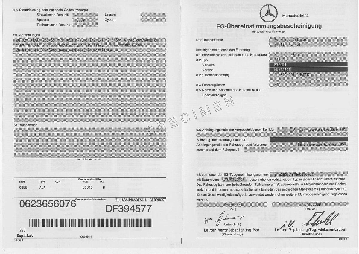 Demande de certificat de conformité Mercedes