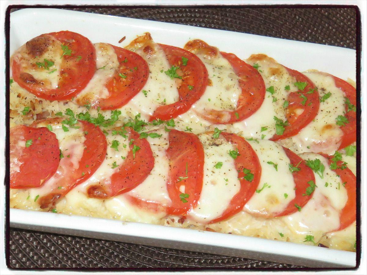Gratin de riz tomate mozzarella
