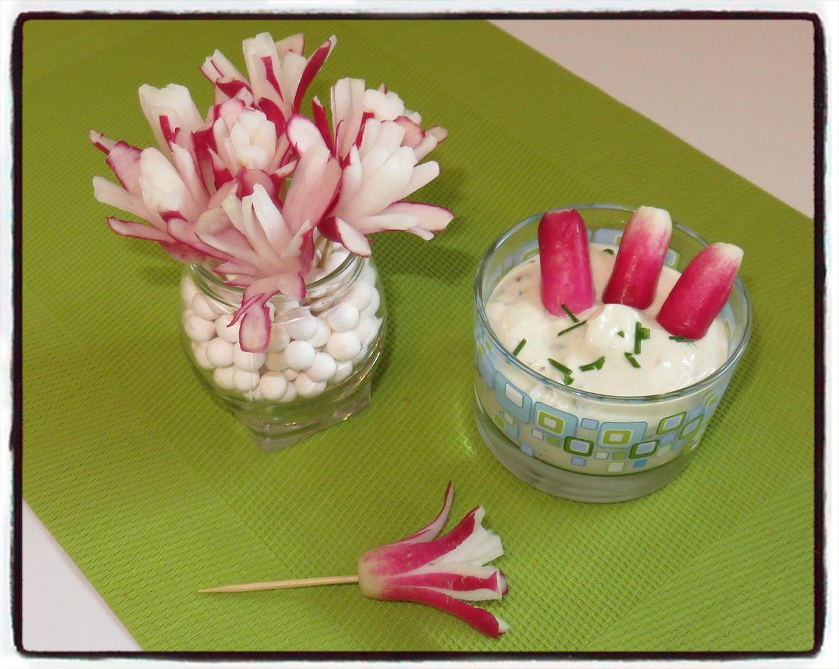 Fleurs de radis sauce boursin
