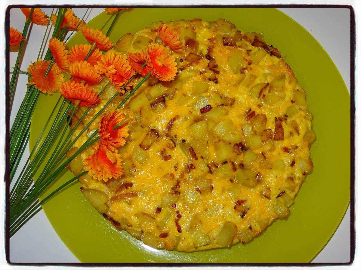 Omelette au cheddar et pommes de terre sautées