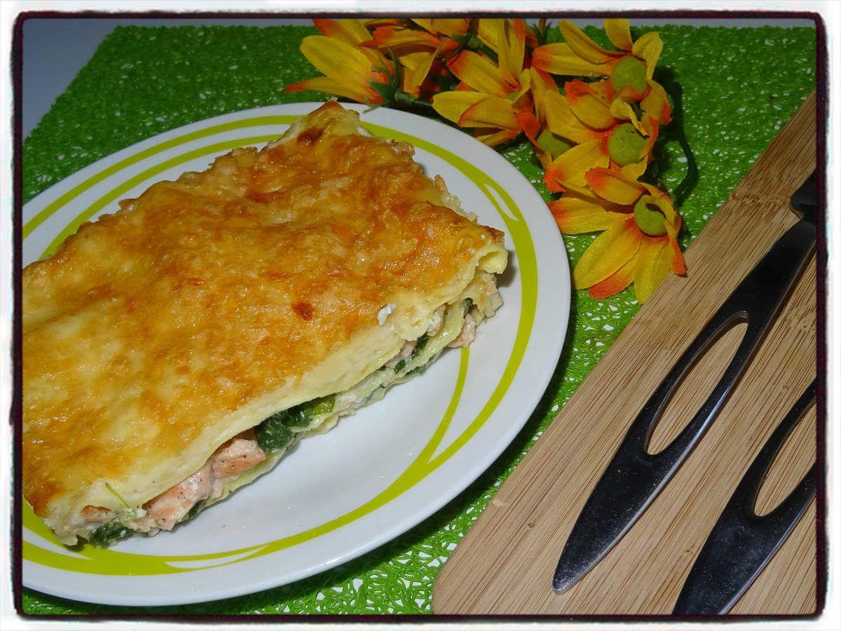 Lasagnes à la ricotta, épinards et saumon