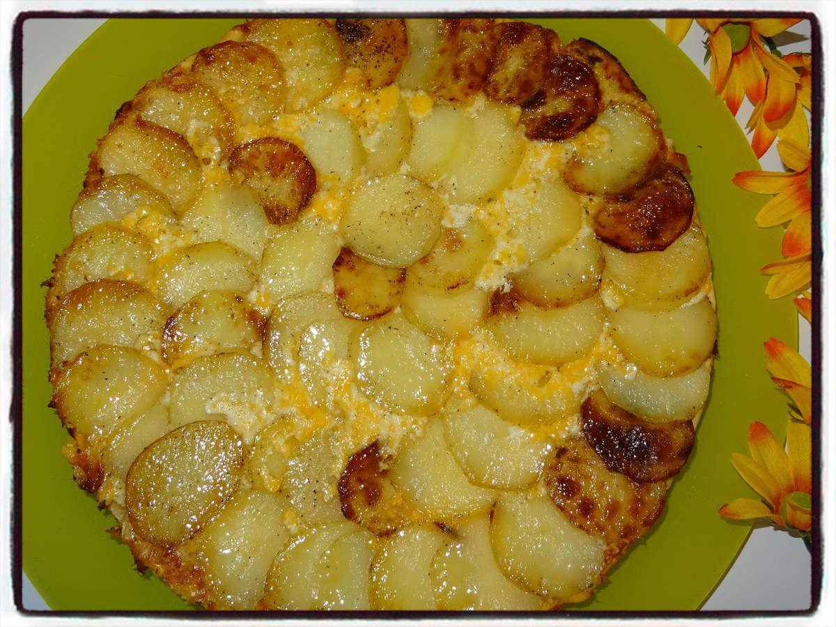 Tarte tatin aux pommes de terre et au cheddar