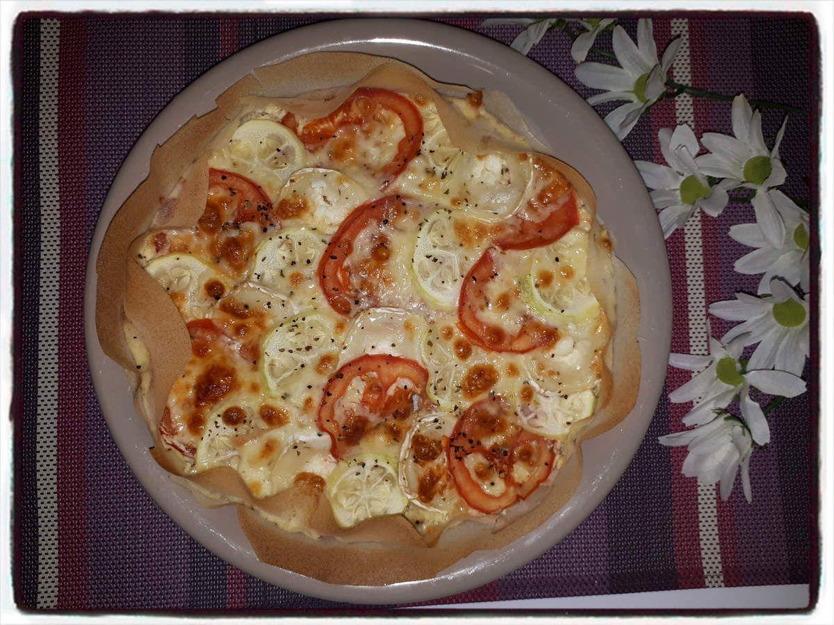 Tarte légère à la tomate, courgette et chèvre