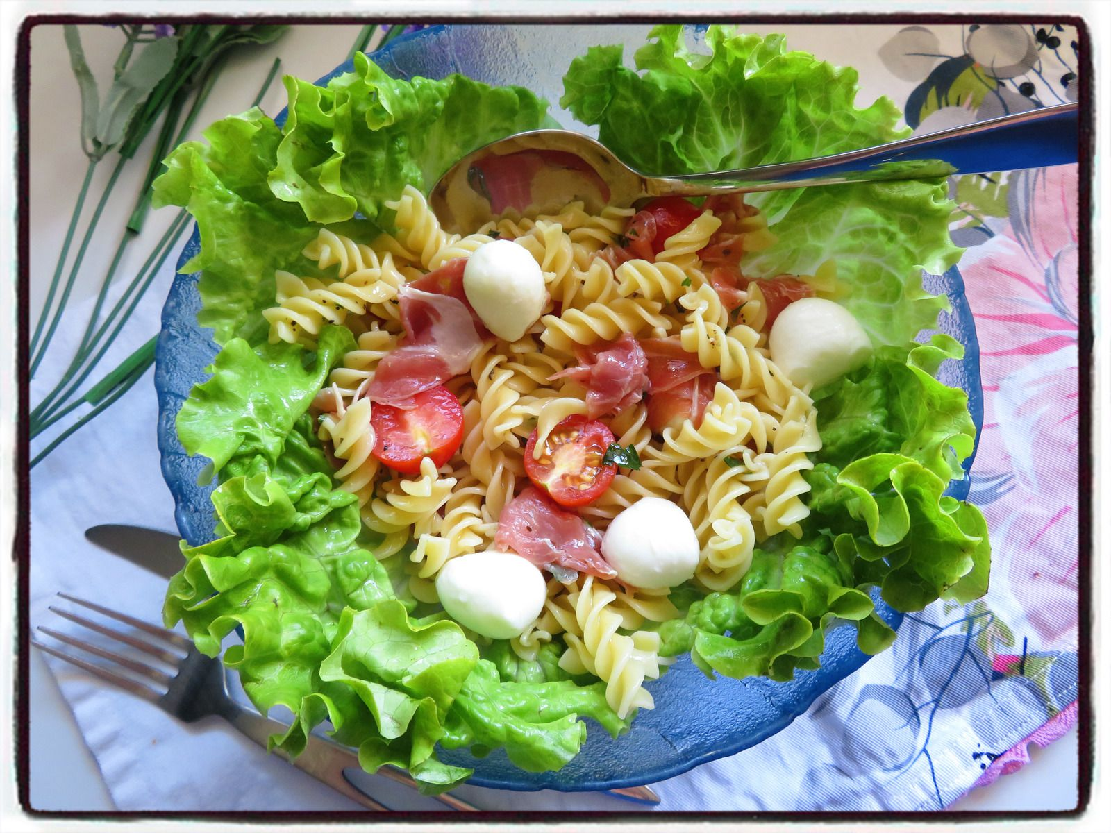 salade de pâtes italienne mozzarella jambon de parme