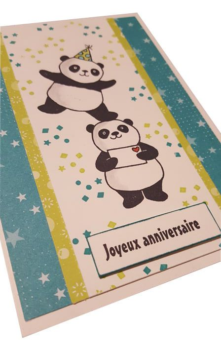 Carte Anniversaire Pandas Elostamp Elodie Demonstratrice Independante Stampin Up