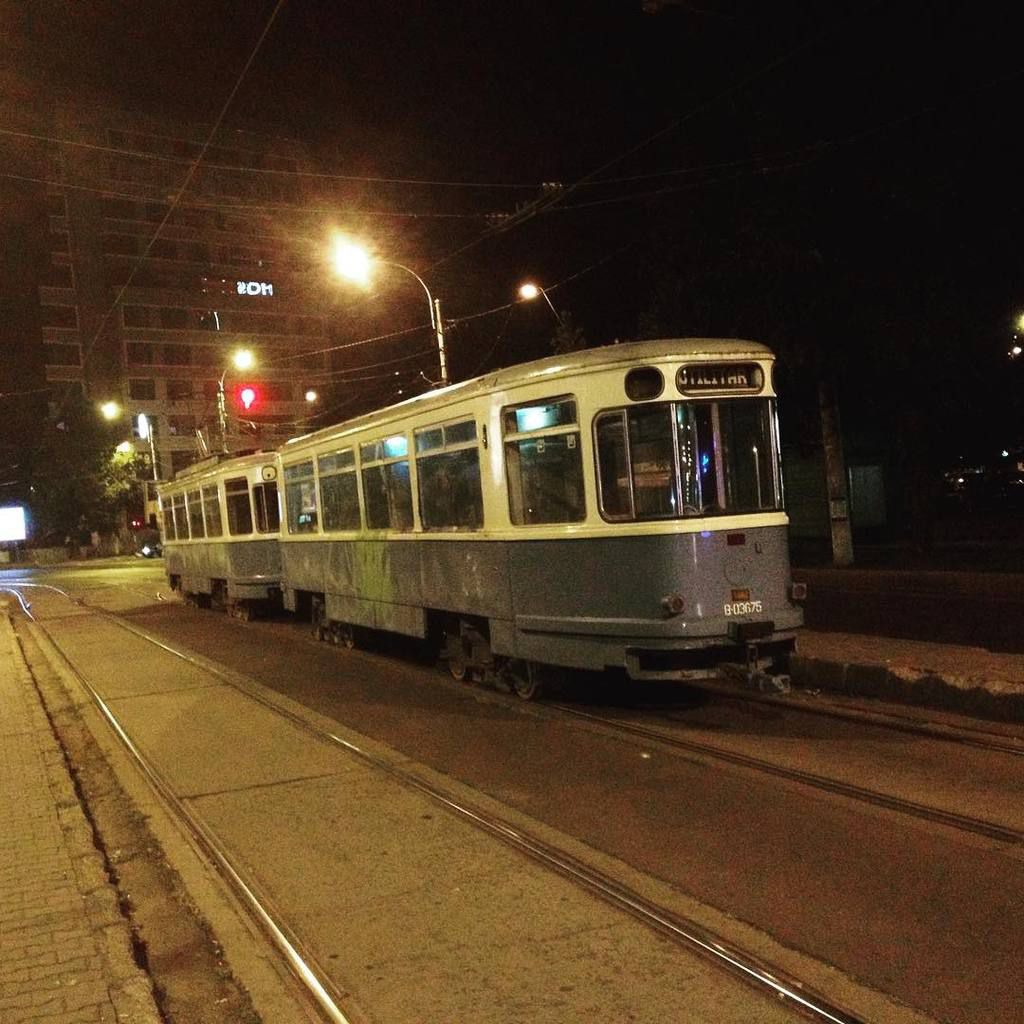 creepy old tram seen at night. used for maintenance.