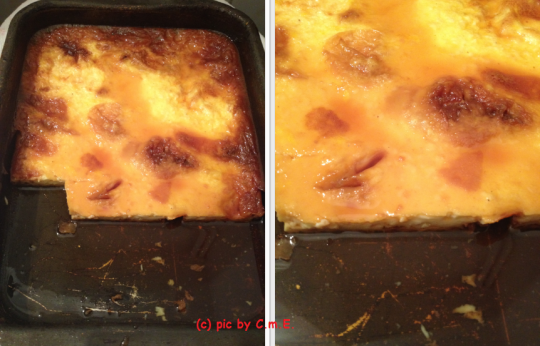 I have used this pan a lot. The whole creme caramel was about a finger thick, though the pan is taller than that.