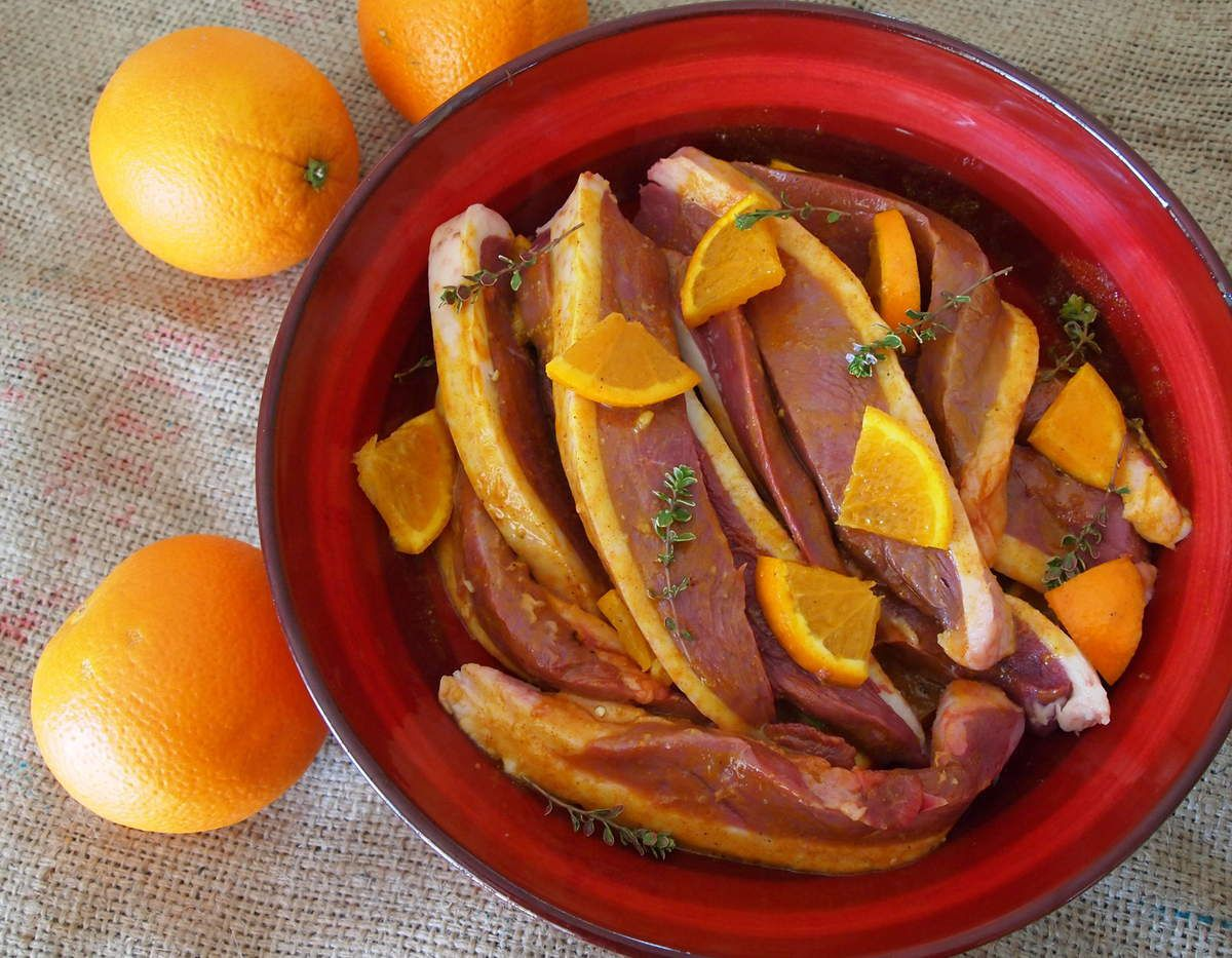 Magrets snackés à l'orange et au curcuma