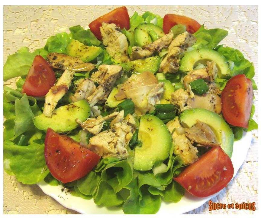 Salade poulet avocat tomates