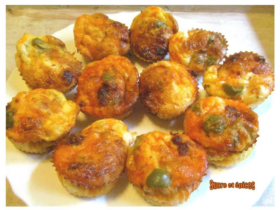 Muffins sans gluten aux deux fromages, chorizo et olives