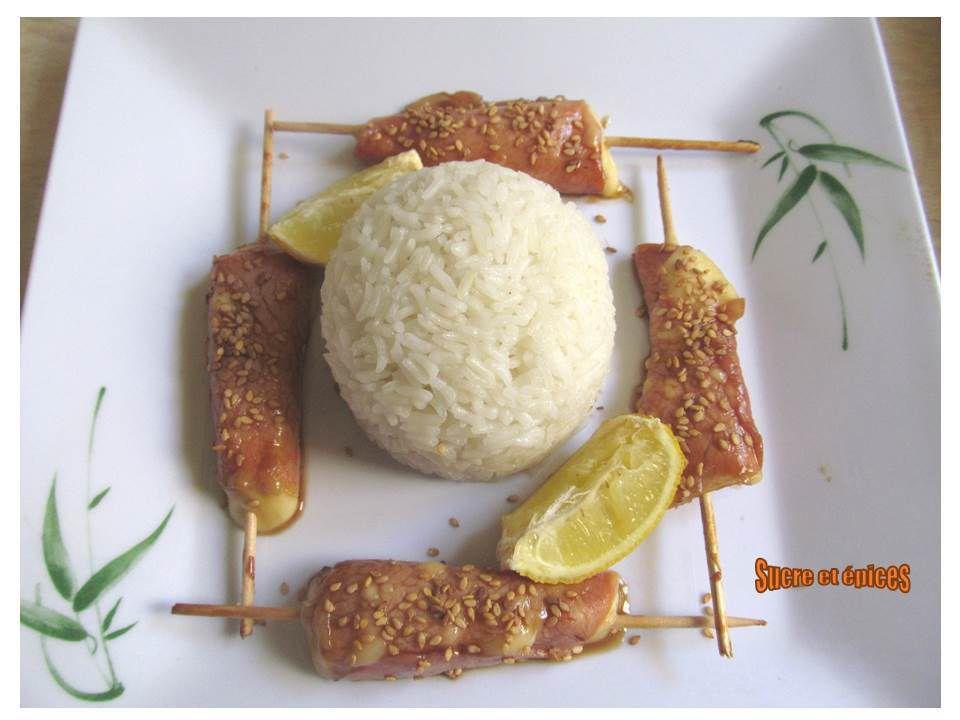 Brochettes de bacon au fromage - yakitori