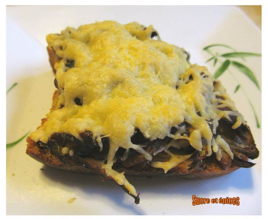 Tartines grillées champignons fromage
