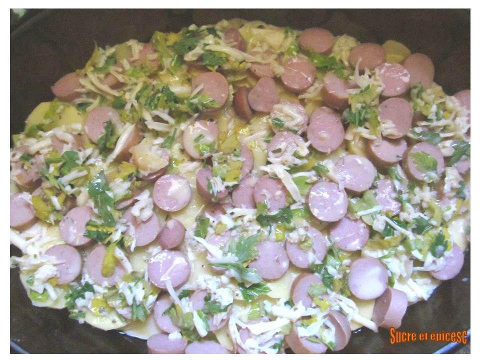 Gratin de pommes de terre aux saucisses de Strasbourg