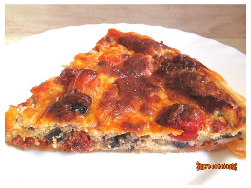 Tarte aux tomates cerises, champignons et chorizo