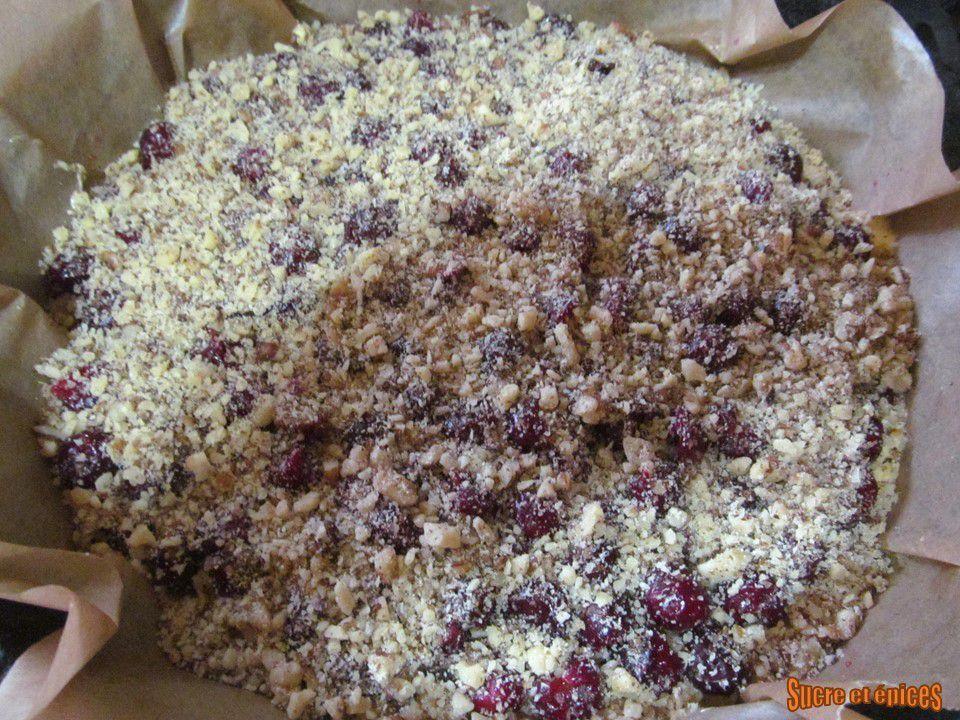 Gâteau aux griottes ou cerises et noix