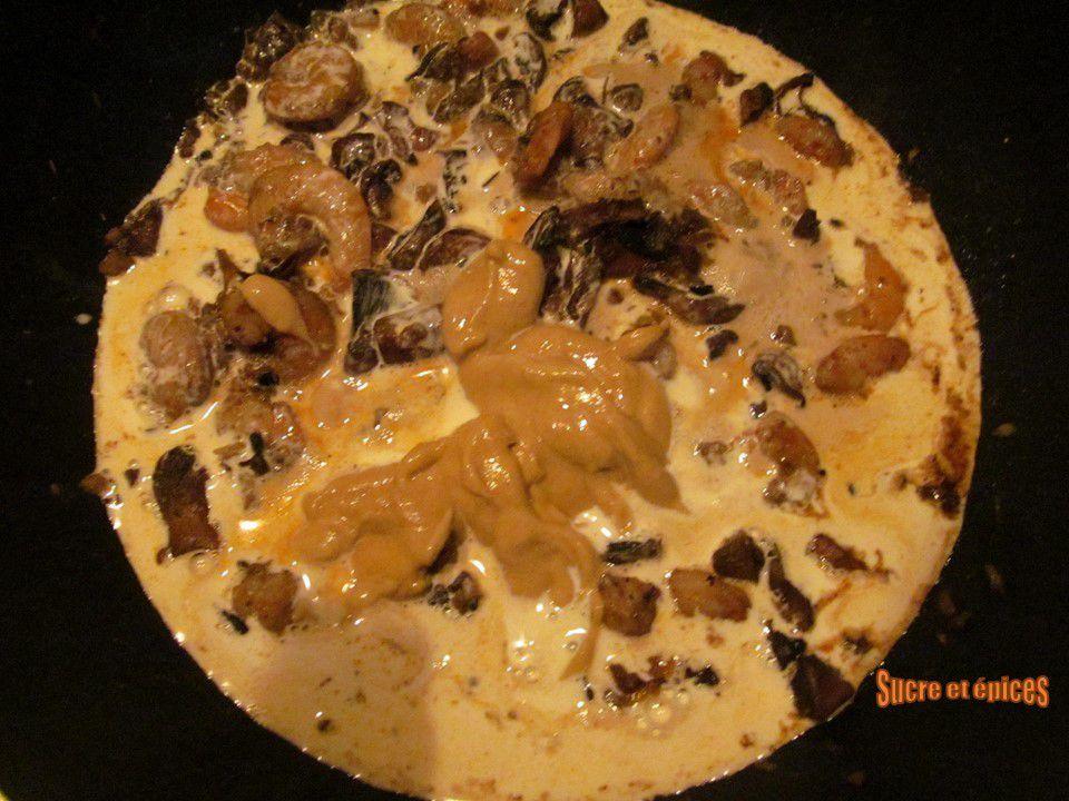 Crevettes aux champignons en sauce crémeuse à la moutarde