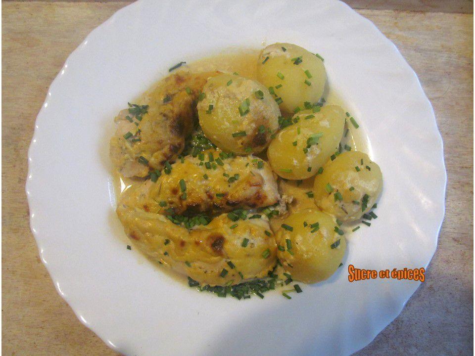 Aiguillettes de poulet et pommes de terre à la moutarde