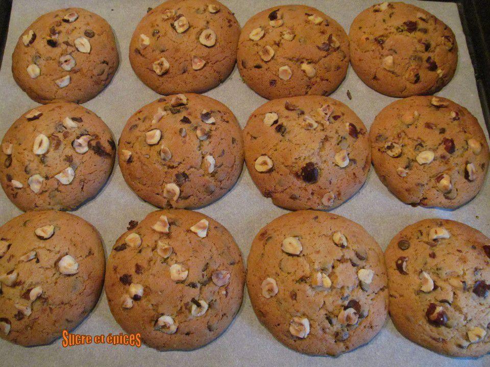 Cookies aux noisettes, chocolat et praliné