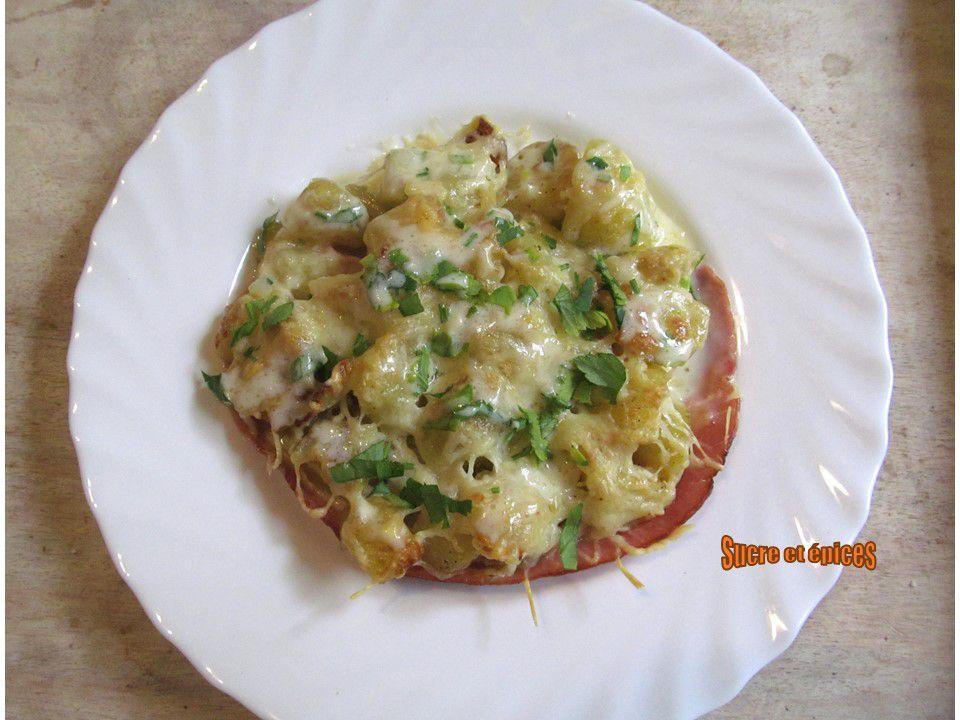Gratin de pommes de terre sautées et jambon à la cancoillotte