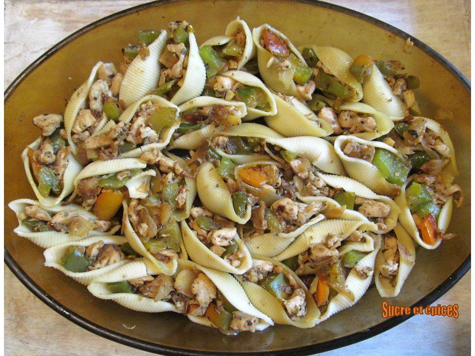 Gratin de conchiglionis au poulet, poivron et cancoillotte