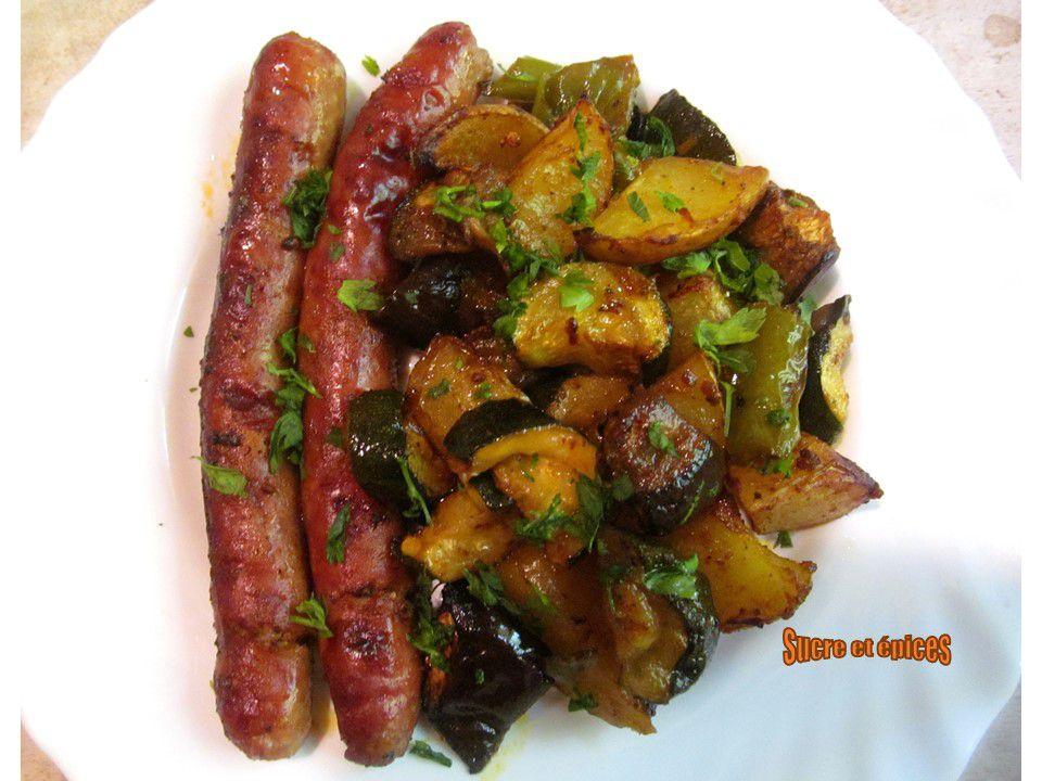 Chipolatas au four aux légumes et épices