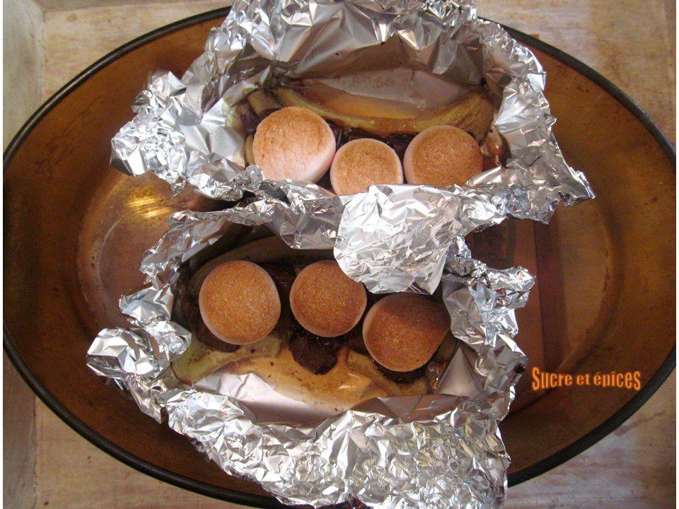 Papillotes faciles aux bananes, chocolat et marshmallows