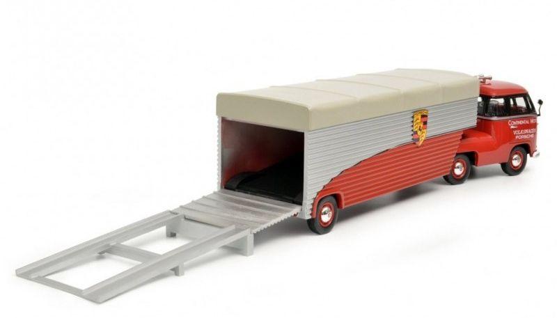 1/18 : Un inédit Volkswagen Transporter T1 semi-remorque aux couleurs Porsche