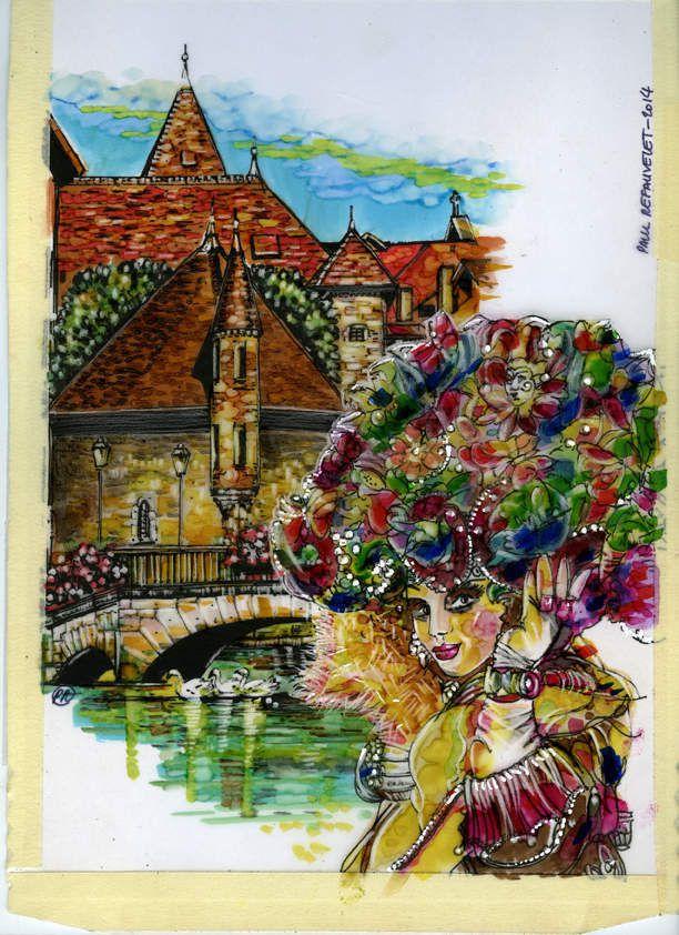 Le vieil Annecy carnaval vénitien illustration par Paul Refauvelet
