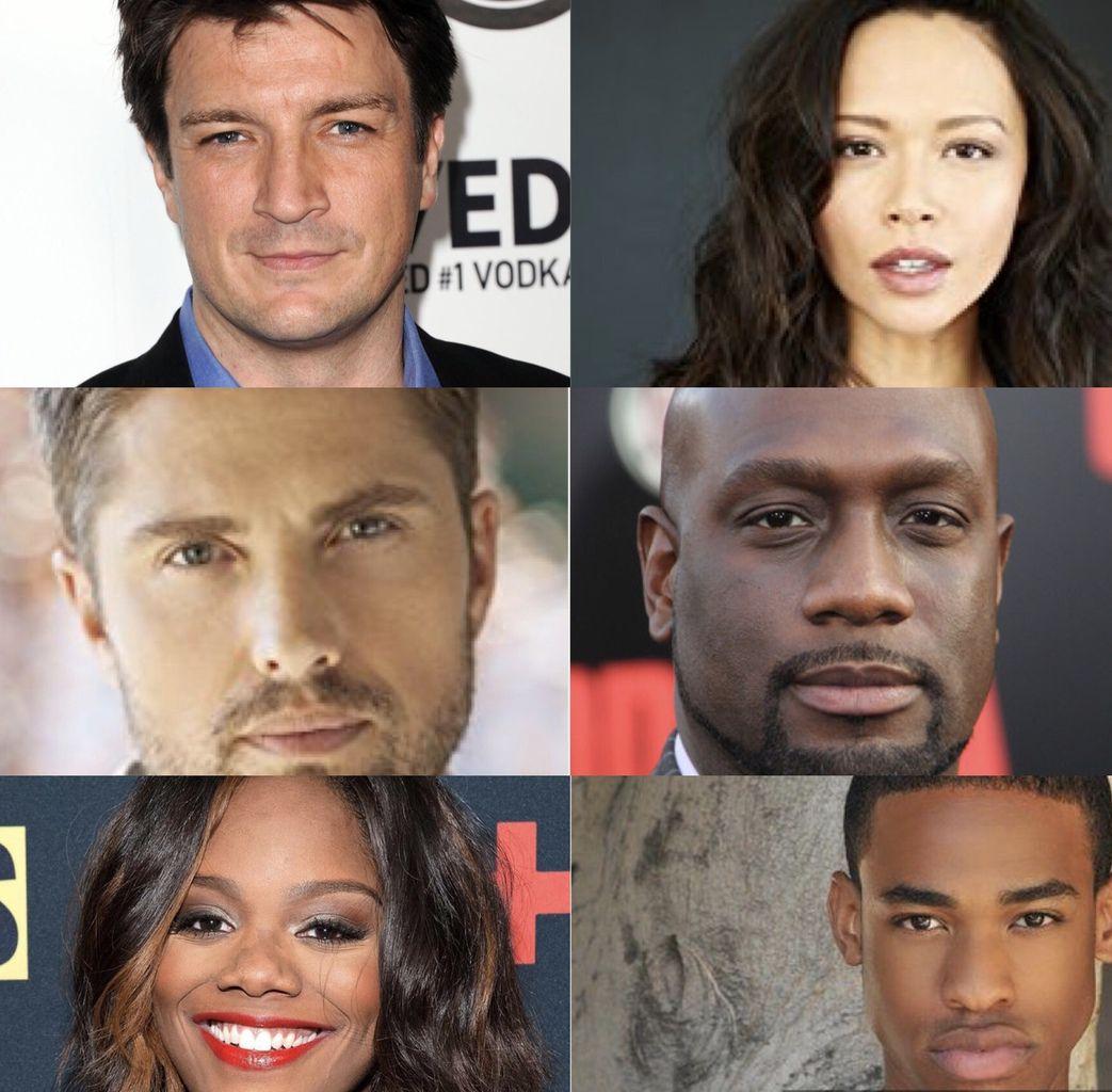 Nathan Fillion (Castle), Melissa O'Neil (Dark matter), Eric Winter (Rosewood), Richard T. Jones (Narcos), Afton Williamson et Titus Makin.