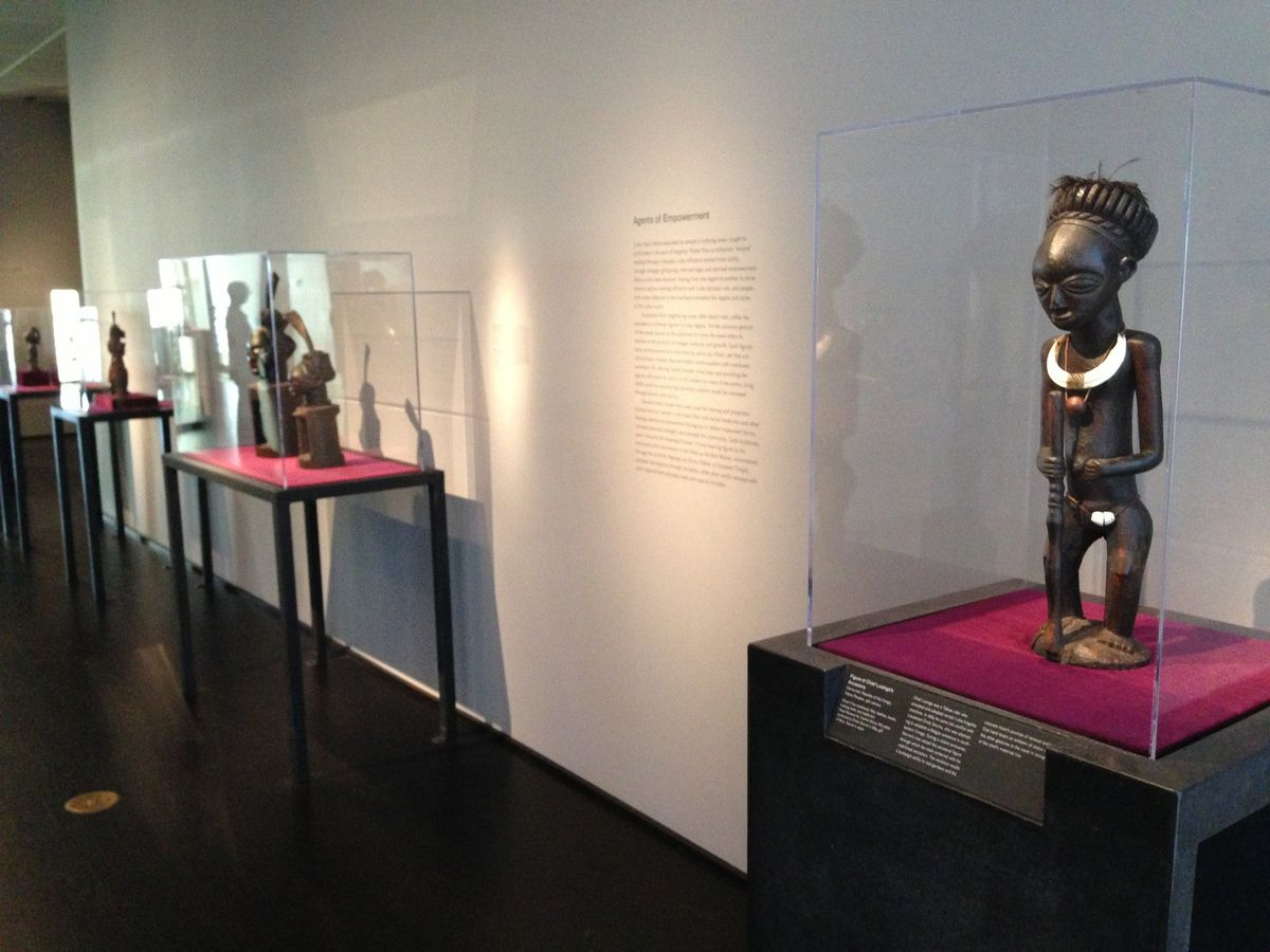 """Fig 2. Lusinga figure, #EO.o.o.31660, Royal Museum for Central Africa, as displayed in """"Shaping Power"""" at the Los Angeles County Museum of Art, photo 2014, with permission."""