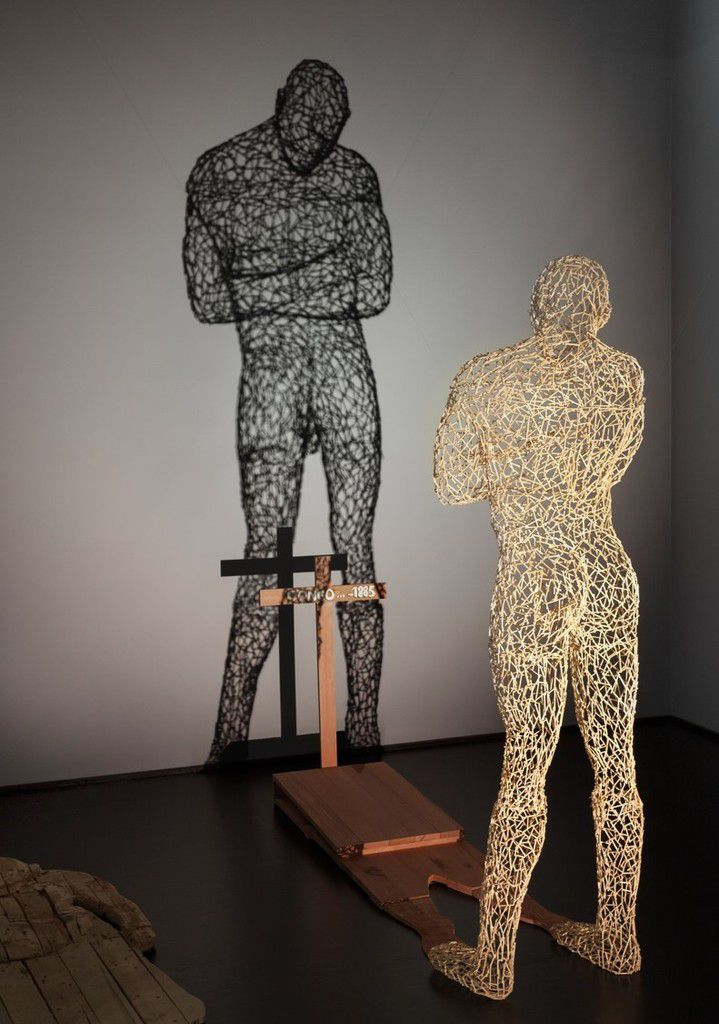 "Fig 10. Aimé Mpane's ""Congo, Shadow of the Shadow"" (2005) mixed media installation, now in the collections of the National Museum of African Art, Smithsonian Institution; here as seen in ""Shaping Power"" at LACMA, 2014, photo with permission."