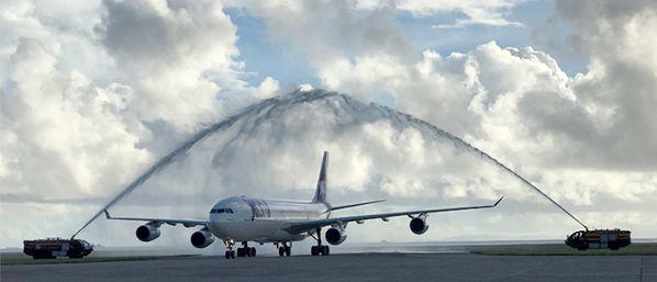 vol inaugural joon mahe seychelles airbus a340
