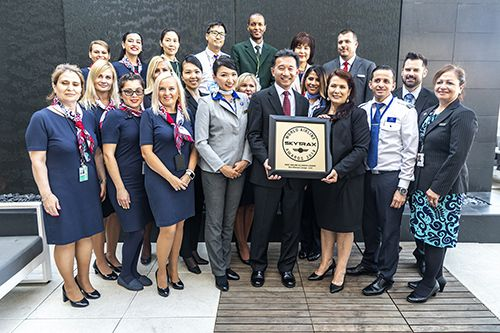 Star Alliance member carrier employees in uniform at the awards reception © Rudy Rodriguez