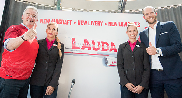 Ryanair CEO, Michael O'Leary with Laudamotion's Michelle Capelli, Melanie Brunner and Andreas Gruber (Laudamotion CEO)