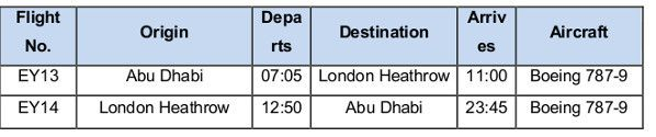 Etihad_Airways additional flights to London